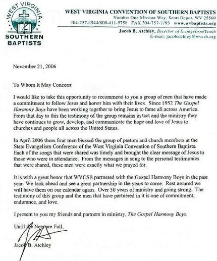 Reference letter for The Gospel Harmony Boys